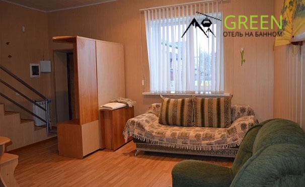 Отдых на курорте «Банное» в отеле Green: двухуровневый номер «Люкс» или VIP с кухонной зоной, мангальная зона, парковка, детская площадка. Скидка до 55%