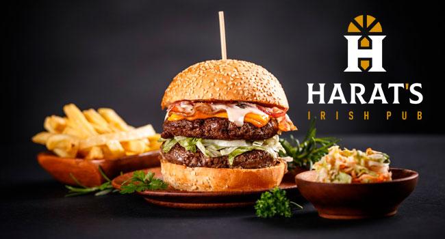 Скидка 50% на все меню кухни и безалкогольные напитки и скидка 30% на крепкие напитки в ирландском пабе Harat's Irish Pub