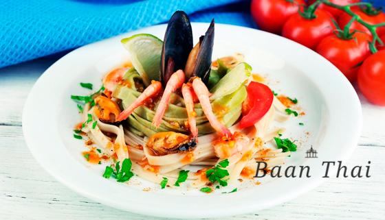 Скидка 50% на всё меню кухни и напитки в тайском ресторане Baan Thai